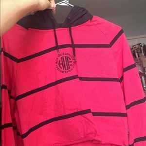 Red HUF Cropped Striped Sweater